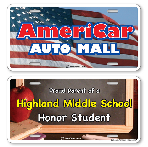 Our Full Color License Plates are printed on hi impact .055 Poly with your high quality graphics or photos. Perfect for car dealerships, schools, clubs, fundraisers etc. Order today.