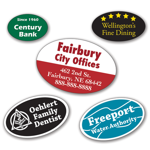 Medium Oval Roll Labels - ONE Color
