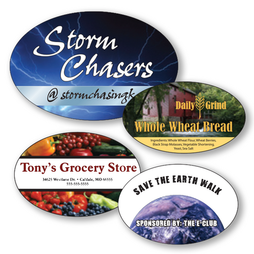 """4"""" x 3.5"""" Full Color Custom Outdoor Oval Decals"""