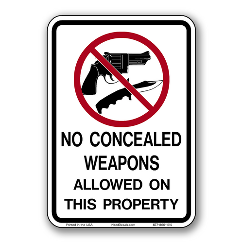 NW-1009 No Firearms or Weapons Allowed Decals