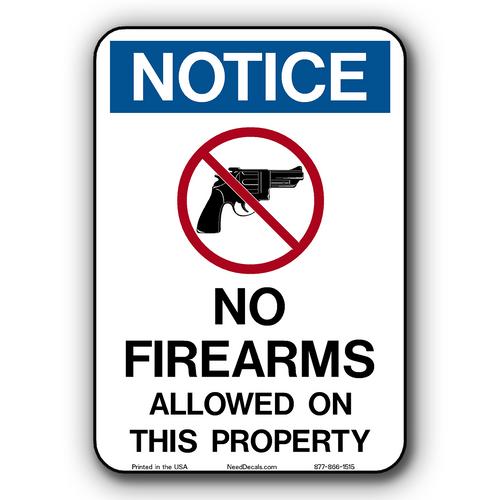 No Guns, No Firearms , No Weapons Allowed Window & Door Decals