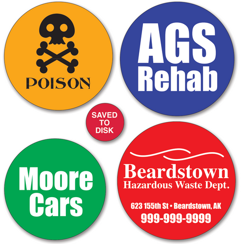 Medium Round Sticker Labels - ONE Color