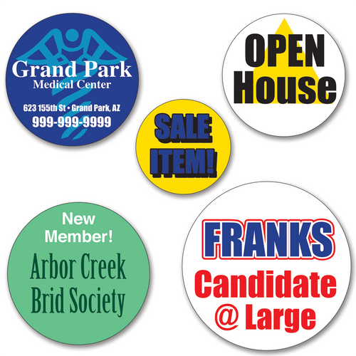 Medium Round Sticker Labels - TWO Color