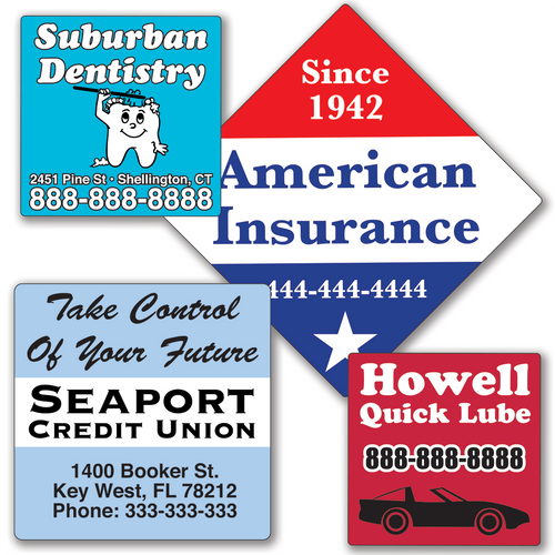 Large Square Roll Labels Parking Decal Stickers - TWO Color
