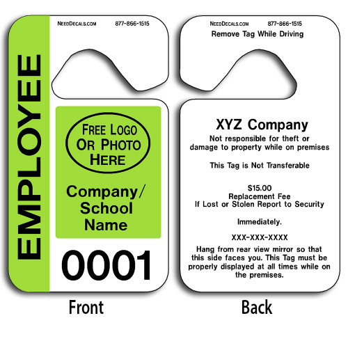Full Color Custom Employee Parking Hang Tag Permits allow endless design possibilities and project a professional image.