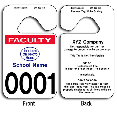 Full Color Custom Faculty Parking Permit Hang Tags allow endless design possibilities and project a professional image. Free Numbering, Free Logo and Free Back Printing. These Hang Tags measure are 2 3/4 x 4 3/4 inches