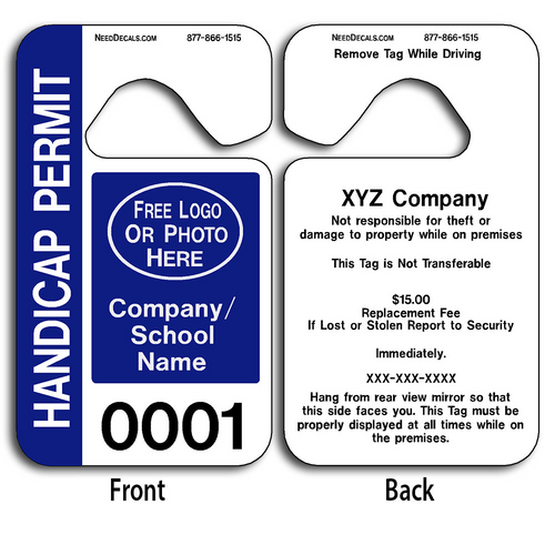 Custom Handicap Parking Hang Tag Permits allow endless design possibilities and project a professional image. These durable Custom Handicap Parking Hang Tag Permits are UV laminated front and back to give you the strongest parking permit available. Order today and get Free Numbering and Free Back Printing.
