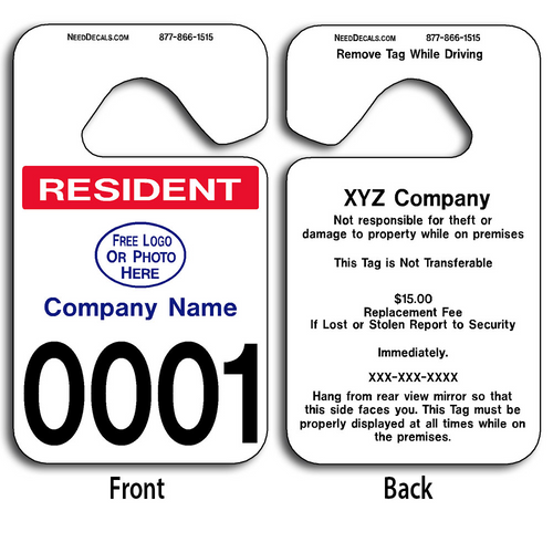 Resident Parking Permit Hang Tags allow endless design possibilities and project a professional image. These durable Custom Resident Parking Permit Hang Tags are UV laminated front and back to give you the strongest parking permit available. Order today and get Free Numbering and Free Back Printing.