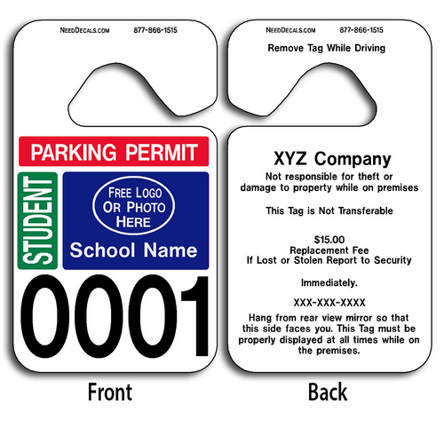 School Parking Hang Tags
