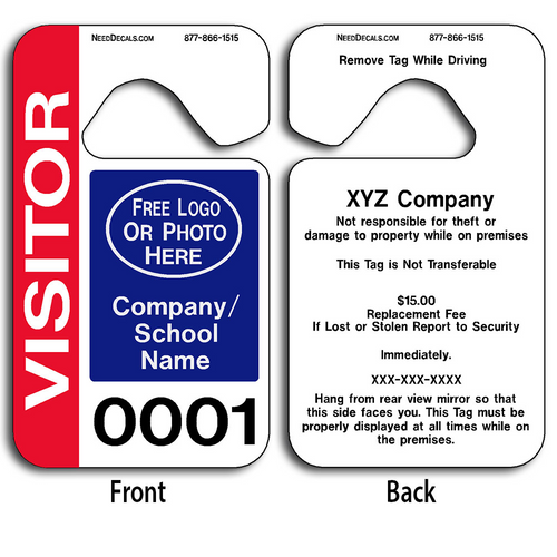Full Color Customizable Stock Parking Permit Hang Tags allow endless design possibilities and project a professional image.