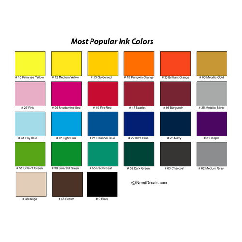 Standard Ink Colors For Outdoor Products
