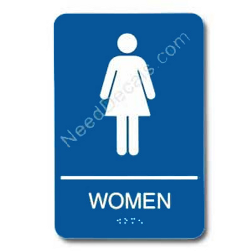 09004 Women's Restroom Sign Braille ADA - Inventory Reduction Sale