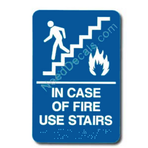 09017 In Case of Fire Sign Braille ADA - Inventory Reduction Sale
