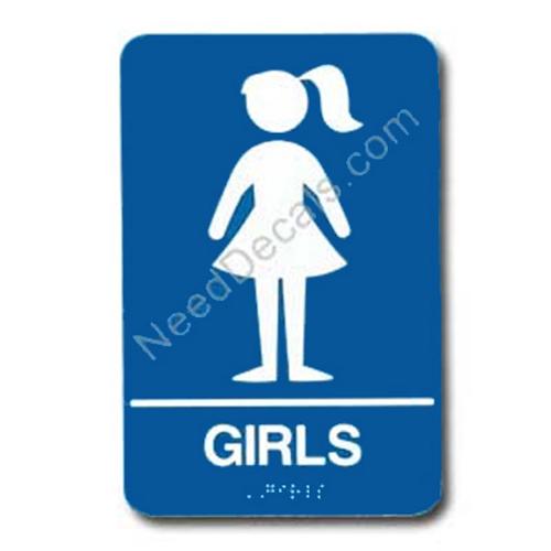 090120 Girls Restroom Sign Braille ADA - Inventory Reduction Sale