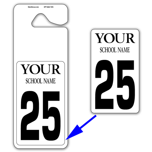 Giant Parent Pickup Tags & Large Number Decals - 25 Per Pack