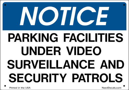 Sign 10x7 inch Parking Facilities Security