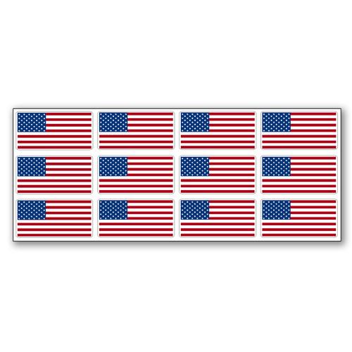 American Flag Sticker Sheets - 12 Flags per Sheet 1 x 2 inch