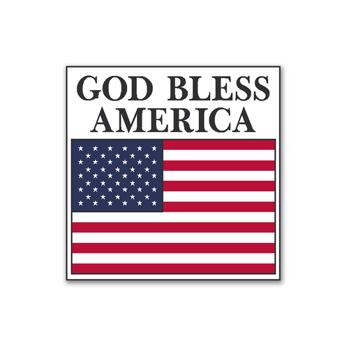 """GOD Bless America Flag Stickers 2"""" x 2"""" - Roll of 100"""