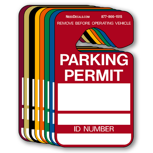 Colored Parking Permit Hangers Write In