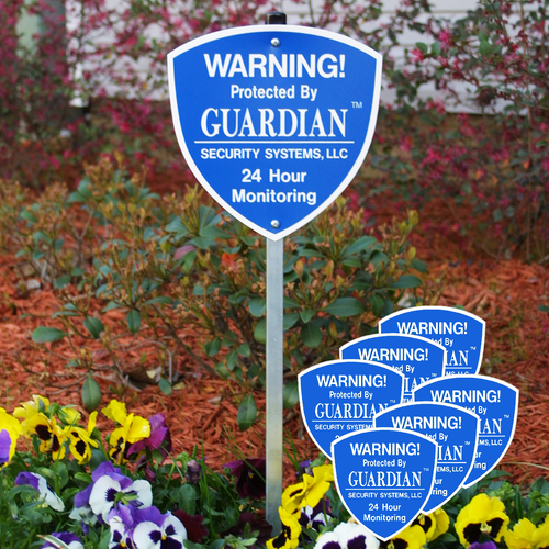 Our Professional Grade Yard Security Signs with Stakes and matching Window Decals are on sale. For a limited time, buy our Yard Security Sign Kit containing 1 Yard Security Sign with Stake and get 6 matching window decals FREE.