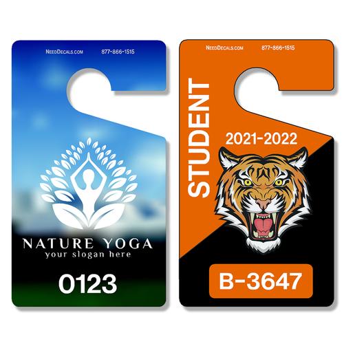 Vertical #3649 - Custom Full Color Car Parking Hang Tag Permits