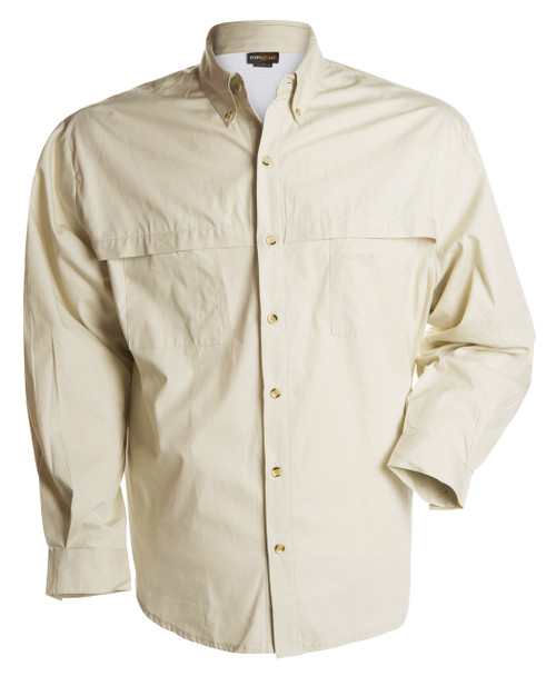 Front view of the bone coloured long sleeve shirt.