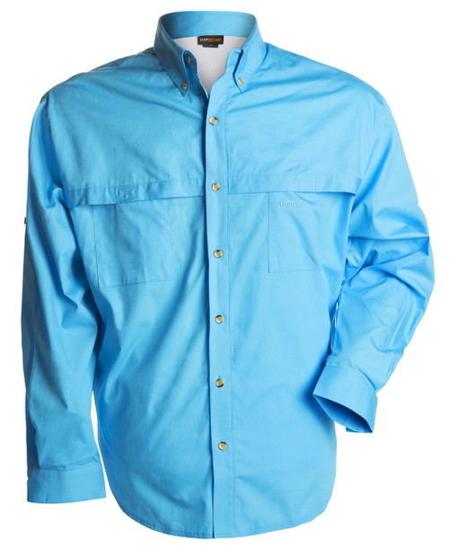 Front view of the blue long sleeve shirt in 100% cotton.