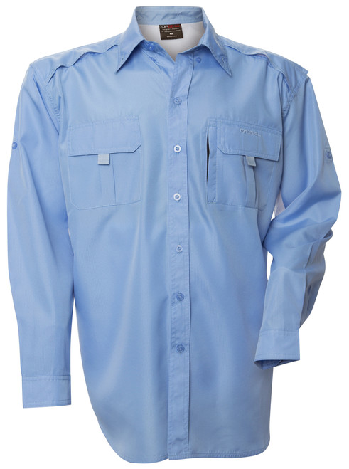 Front view of the blue long sleeve shirt in Ripstop fabric.