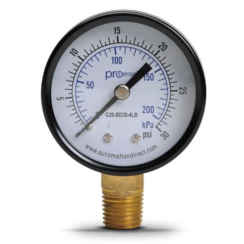"0-30 psi Pressure gauge 1/4"" brass npt."