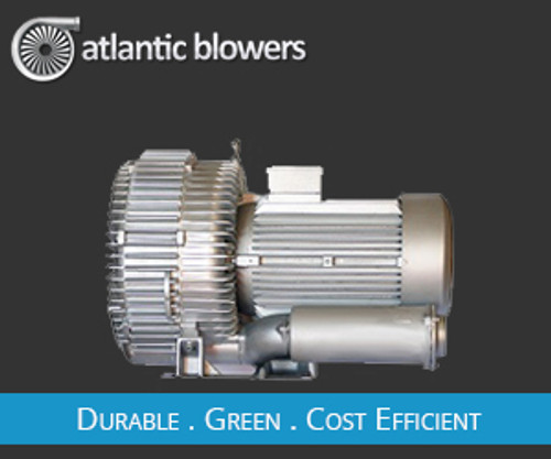 "Atlantic Regenerative Blower, 3HP, 230V, 1Phase, 60hz 155cfm@110"" pressure"