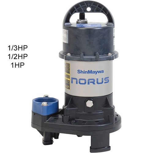 Shin Maywa SM2.25 Submersible Pump, 4800 GPH , 27' Max. Head, 1/3HP, 115VAC (SM2.25)