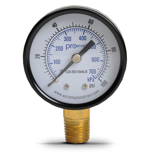 PRESSURE GAUGE 2in 0-100 PSI 1/4-NPT BRASS LOWER-MOUNT STEEL-CASE (G20-BD100-4LB)
