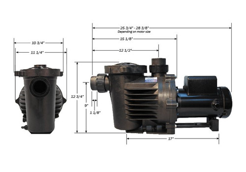 """Performance Pro Artesian 2 Pump 1/4hp, 115/230V, 1 Phase, 2"""" Unions In/Out (A2-1/4-47C)"""