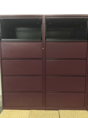 Meridian Burgundy Five Drawer Lateral File Cabinet