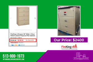 FireKing Four Drawer Lateral Fireproof File Cabinet 4-3822-C, 4-4422-C & 4-3122-C