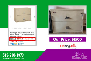 FireKing Two Drawer Lateral Fireproof File Cabinet 2-3822-C, 2-4422-C & 2-3122-C