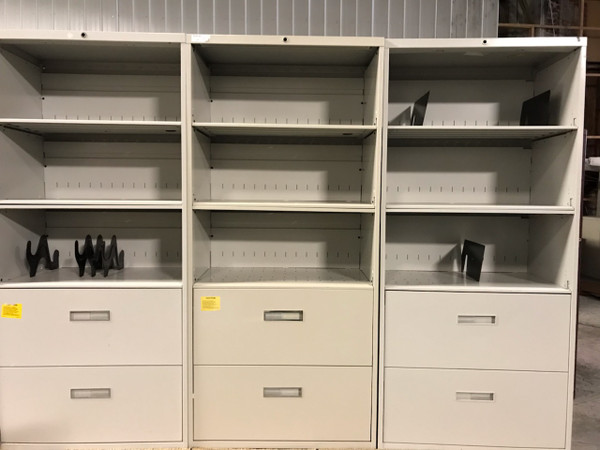 HON Two Drawer Lateral File Cabinet, Three Shelf Combo