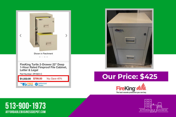 FireKing Turtle Vertical Two Drawer Fireproof File Cabinet 2R1822-C