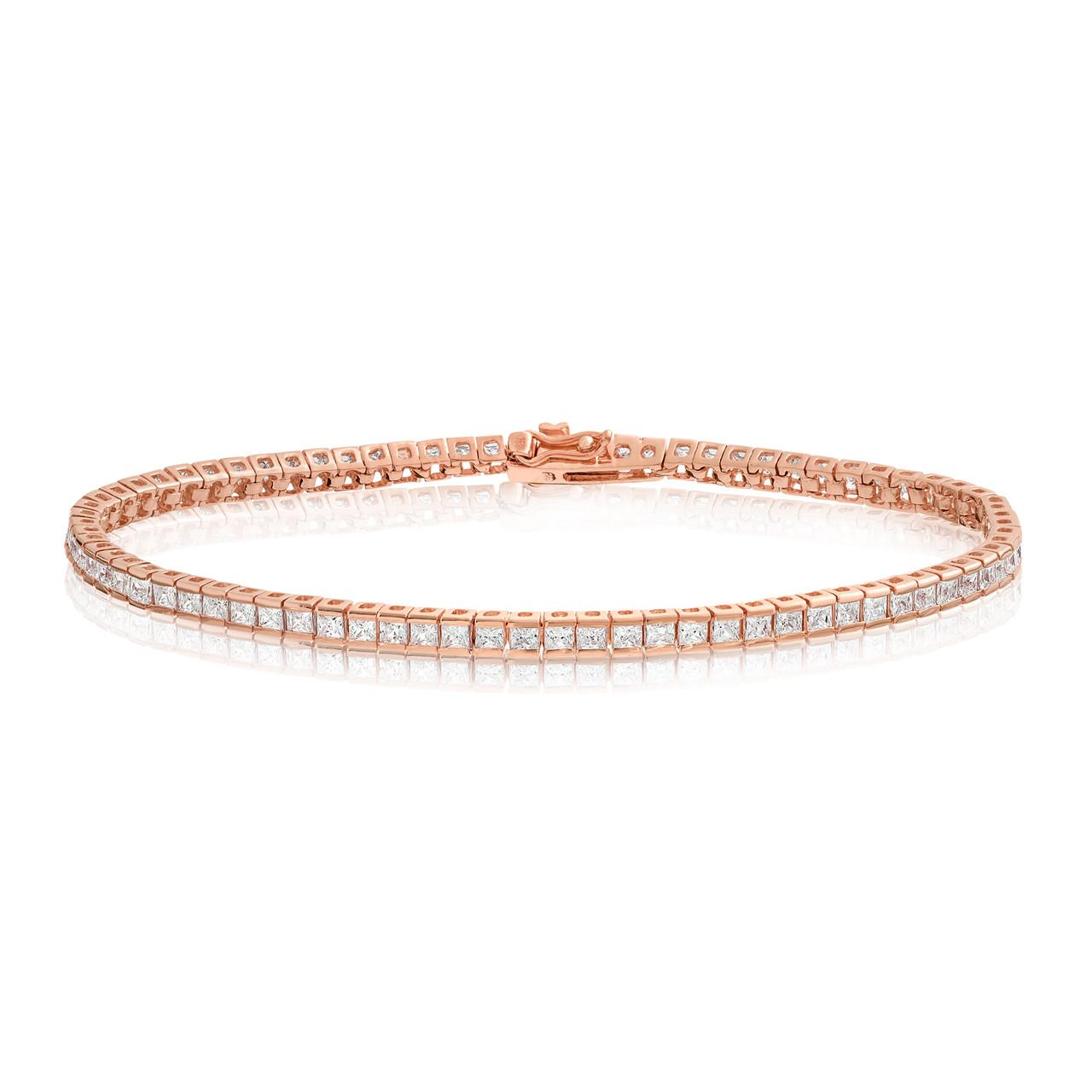 9b63ac18a4091 Cubic Zirconia Tennis Bracelet Rose Gold Plated 2x2mm Square White CZ