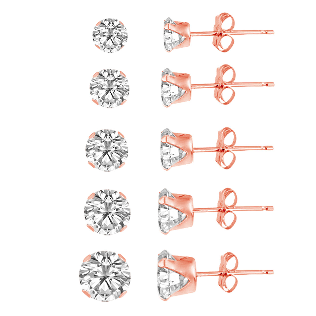 Prong Set Round Clear Cubic Zirconia Stud Earrings Rhodium Plated Sterling Silver 7MM