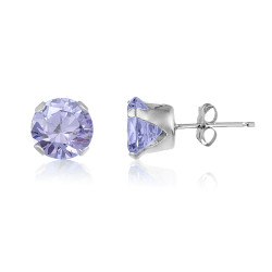 Square 3x3mm Champagne CZ .925 Sterling Silver Stud Earrings