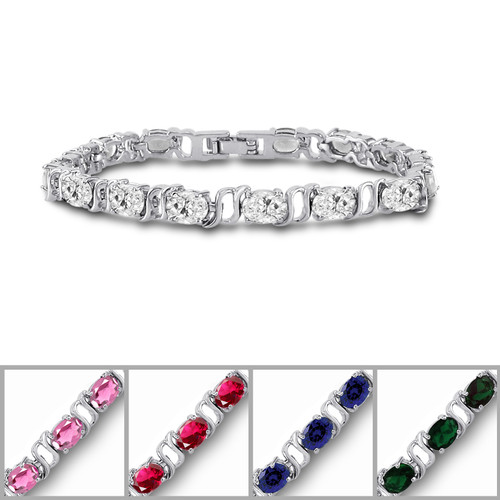 Silver Plated 7x5mm Color CZ Tennis Bracelet
