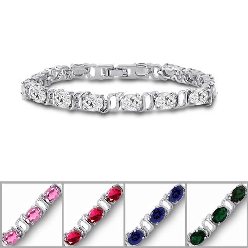 Silver Plated 7x5mm Color CZ Tennis Bracelet