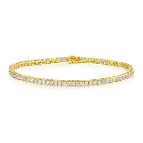 14k Gold Plated 2x2mm Square Princess Cut Tennis Bracelet