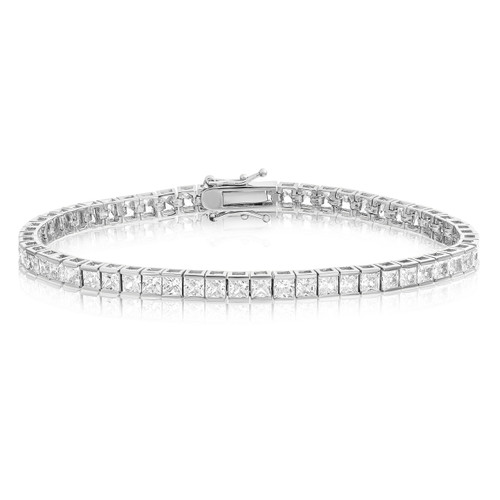 Square Princess Cut 3x3 AAA CZ Tennis Bracelet - Rhodium Plated - Choose Length