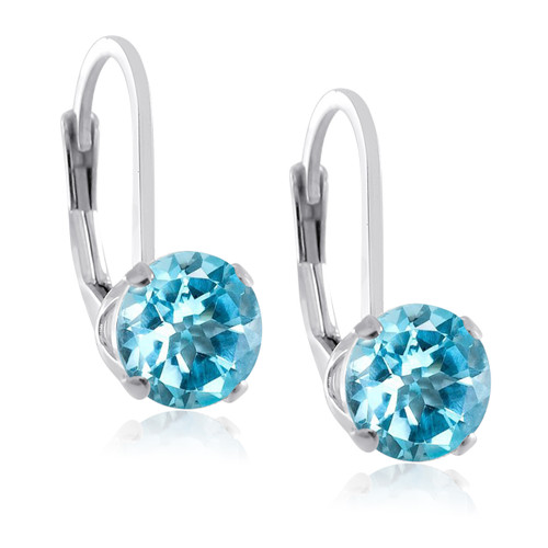 Sterling Silver Genuine Birthstone Gemstone 4 Prong LeverBack Earrings Round 5mm