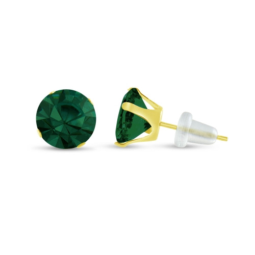 10K Yellow Gold Round Simulated Emerald Stud Earrings