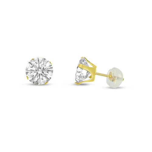 14K Yellow Gold Round White CZ Stud Earrings