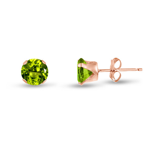 Simulated Peridot CZ Round Stud Earrings in Rose Gold over Silver