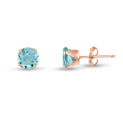 Simulated Aquamarine CZ Round Stud Earrings in Rose Gold over Silver
